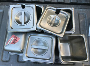 Lot Of 7 Stainless Steel Sixth Size 6 Deep Steam Table Pans 3 Lids 1 6th