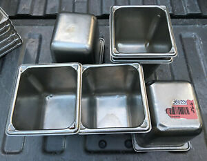 Lot Of 7 Stainless Steel Sixth Size 6 Deep Steam Table Pans 1 6th
