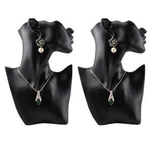 2pcs set Female Fashion Show Jewelry Head Mannequin Bust Display Black