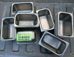 Lot Of 10 Stainless Steel Ninth Size 4 Deep Steam Table Pans 1 9th