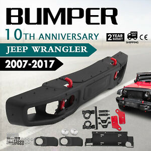 For 07 18 Jeep Jk Wrangler Rubicon 10th Anniversary Style Metal Front Bumper