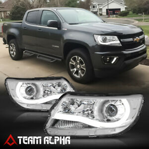 Fits 2015 2020 Chevy Colorado led L bar chrome clear Corner Projector Headlight