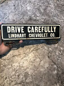 Vintage Rare Drive Carefully Lindhart Chevrolet Plate Topper Rat Rod Truck