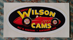 Vintage Original Dempsey Wilson Cams Water Decal Racing Indy Race Car Old Auto