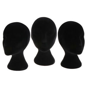 3x Female Styrofoam Mannequin Manikin Head Models Display Stands For Wigs Black