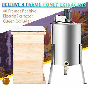 Complete Bee Hive 10 frame 2 Deep Box 2 Medium Box And 4 Frame Honey Extractor