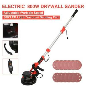 Electric Drywall Sander 800w 6 Speed Vacuum System Led Light Bar 12 Sanding Pad