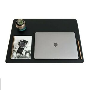 Zbrands Leather Smooth Desk Mat Pad Blotter Protector 24 X 17 Midnight Blk