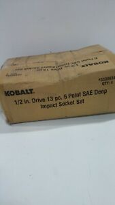 Kobalt 338634 13 Piece 1 2 Inch Drive 6 Point Deep Impact Socket Set