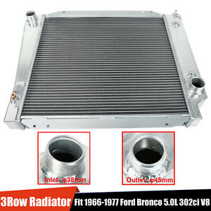 3 Row Aluminum Core Performance Cooling Radiator Fit 1968 1977 Ford Bronco 5l V8