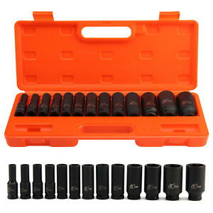 13pcs 10 32mm Deep Air Impact Socket 1 2 Drive 6 Points Axle Nut Remover Metric