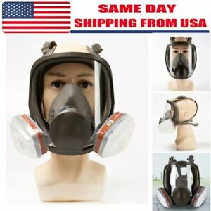 Full Face Gas Mask 15 In 1 Facepiece Respirator For Painting Spraying Safe