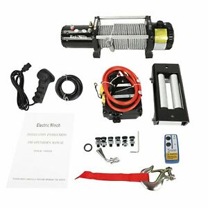 13000lbs Electric Winch 12v Synthetic Rope 4wd Waterproof Truck Trailer