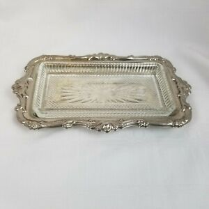 Vintage Classic Ornate Silver Plated Serving Tray With Glass Dish Plate