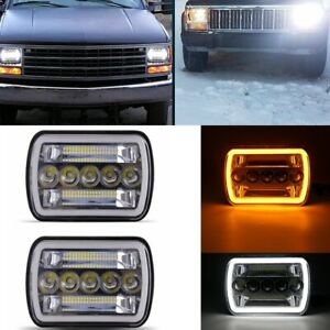 Pair 7x6 5x7 Led Headlight W Drl Amber Turn Signal For Jeep Cherokee Xj Chevy