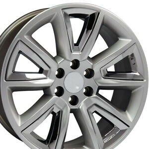 Replacement Wheel 20x8 5 Hyper Black And Chrome Chevytruck Wheel Tahoe Cv73