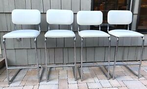 Mid Century Modern Mcm Chrome White Vinyl Bar Counter Stools Set Of 4
