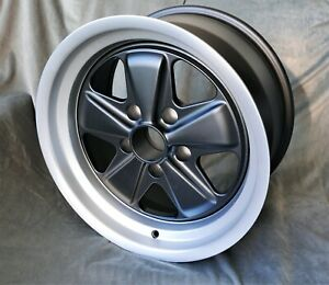 2 Maxilite Fuchs Style Wheels For Porsche 911 9x17 Black Diamond Cut Lip W Tv