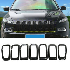 For 2014 2018 Jeep Cherokee Black Front Grille Inserts Grill Frame Cover Trim 7x