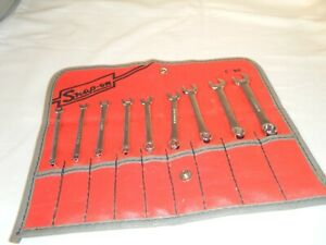 Snap On 9 Pc Sae 1 8 3 8 Midget Combination Ignition Wrench Set C 90 Pouch