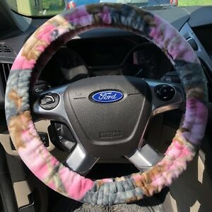 Handmade Steering Wheel Cover And Seatbelt Covers Set Pink Camo Fleece