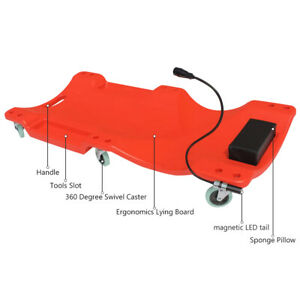 Car Workshop Creeper Crawler Board Padded Headrest Dual Tool Trays Led Light