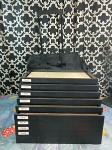 Traveling Rolling Black Jewelry Case With 10 Trays And 9 Liners