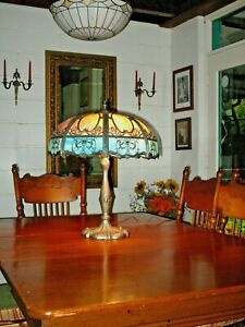 Stain Glass Panel Table Lamp Antique Cir 1910 Winged Nudes Victorian Filigree