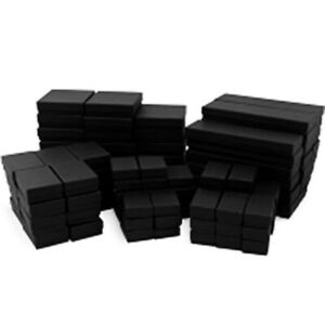Matte Black Cotton Filled Jewelry Boxes Lots Of 25 50 100