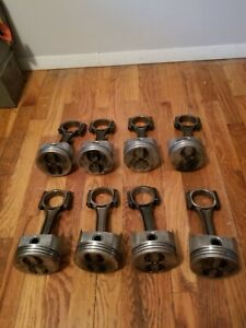 Speed Pro trw Chevy 350 5 7 Forged Flat Top Pistons 030 On Gm Rods