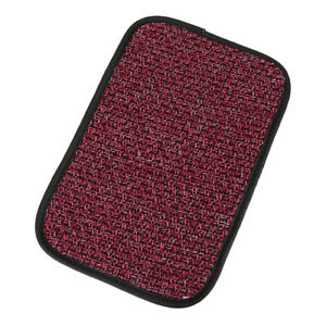 Universal Red Linen Center Console Box Lid Car Armrest Pad Cover With Elastic