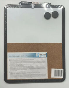 Dual Dry Erase Board And Cork Board With 2 Magnets And Pen Usa Seller