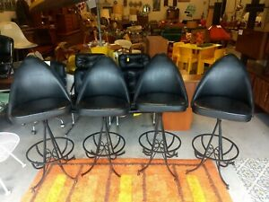 Vintage Mid Century Modern Bar Stools Star Trek Cone Unique Mcm Set Of 4 Rare