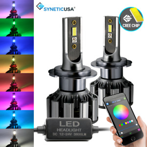 H7 Cree Led Csp Headlight Fog Light Low Beam Rgb Bluetooth Phone Control