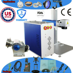 30w Split Fiber Laser Marking Maching With Rotary Axis And Raycus Laser fda Ce