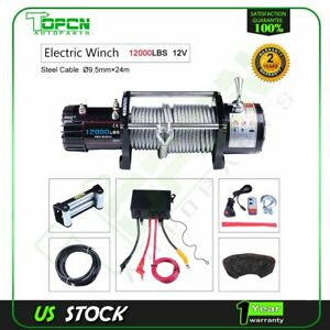 12000lb Electric Winch 12v Steel Cable Truck Trailer Towing Off Road 4wd W cover