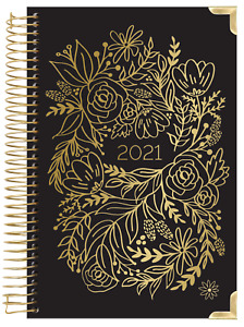 2021 Hard Cover Daily Planner Calendar Gold Embroidery Bloom