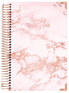 2021 Hard Cover Daily Planner Calendar Pink Marble Bloom