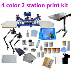 4 Color 2 Station Screen Printing Kit Flash Dryer Exposure Press Ink Supplies