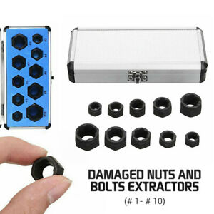10pcs Damaged Nut Bolt Remover Stud Extractor Set Screw Broken Removal Tool