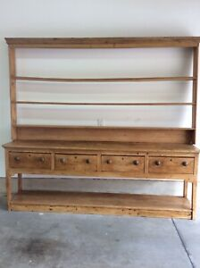 18th 19th Century 3 Pc English Pine Welsh Dresser With Pot Board And Plate Rack