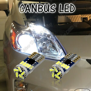 2x Canbus White Led Parking Light Bulbs For Toyota Prius Super Bright Error Free