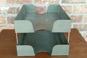 Weis 124 Vintage Desk Top Paper Letter Tray 2 Tier Metal Organizer