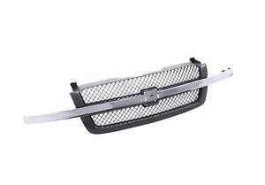 Gray Grille Grill With Chrome Molding Trim Bar For 03 07 Silverado Ls Lt Wt