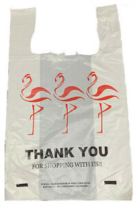 1000 White Plastic Flamingo Thank you T shirt Shopping Jumbo Bags 18x8x30 18mic