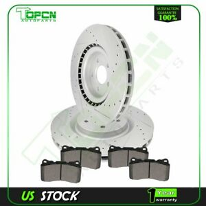 For 2007 2013 2014 Ford Mustang Front Drill Brake Rotors Ceramic Pad