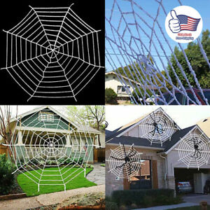 5 9 12Ft Giant Spider Web Spooky Haunted House Halloween Party Decor Outdoor US