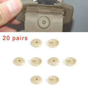 20 Pairs Seat Belt Button Buckle Stop Universal Fit Stopper Kit Beige