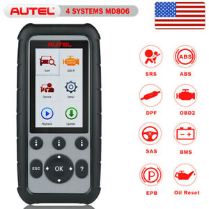 Autel Md806 Obd2 Engine Transmission Abs Srs Sas Bms Epb Dpf Code Reader Scanner