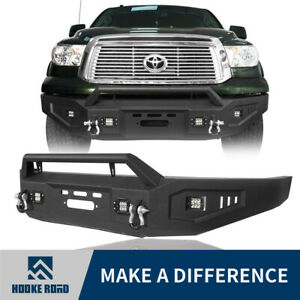 Hooke Road Front Bumper W Low profile Hoop 4x Lights For 07 13 Toyota Tundra